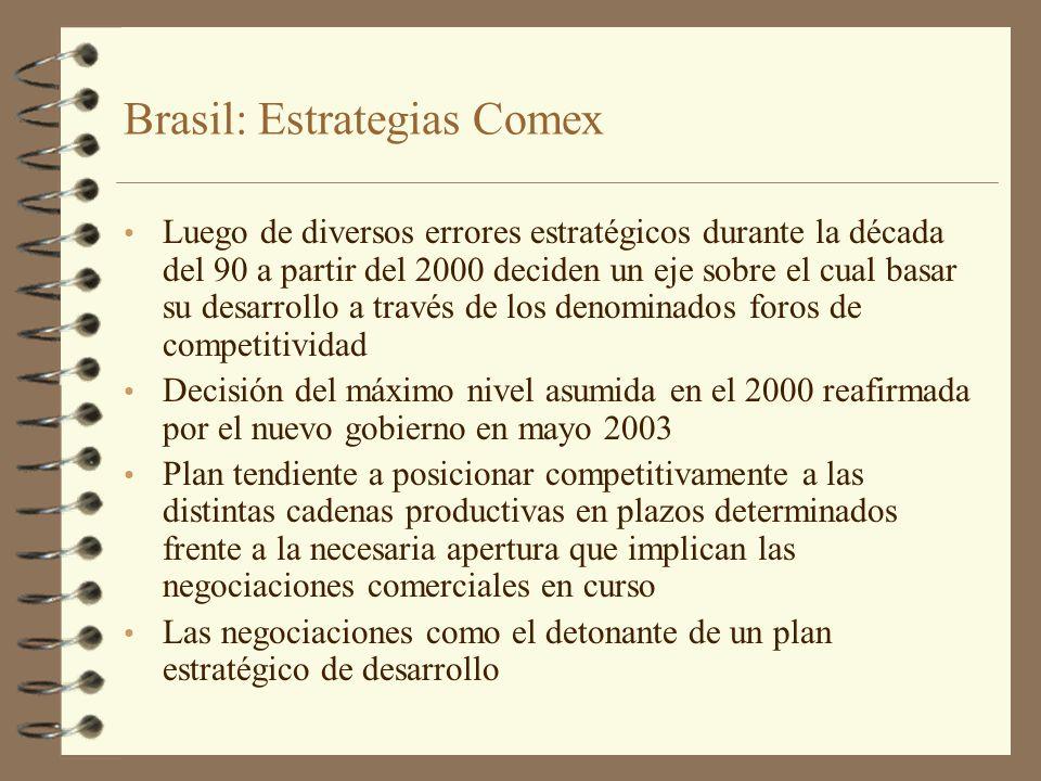 Brasil: Estrategias Comex Luego de diversos errores estratégicos durante la década del 90 a partir del 2000 deciden un eje sobre el cual basar su desa
