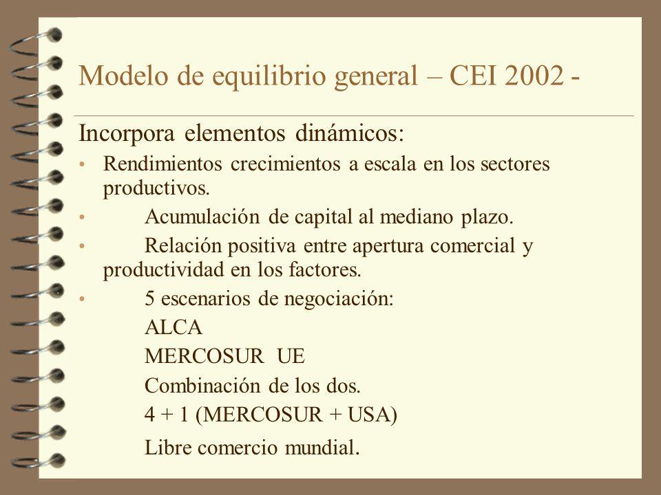 Modelo de equilibrio general – CEI 2002 - Incorpora elementos dinámicos: Rendimientos crecimientos a escala en los sectores productivos. Acumulación d