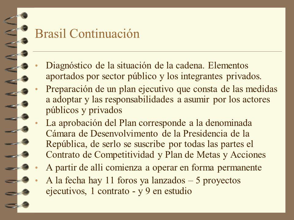 Brasil Continuación Diagnóstico de la situación de la cadena. Elementos aportados por sector público y los integrantes privados. Preparación de un pla