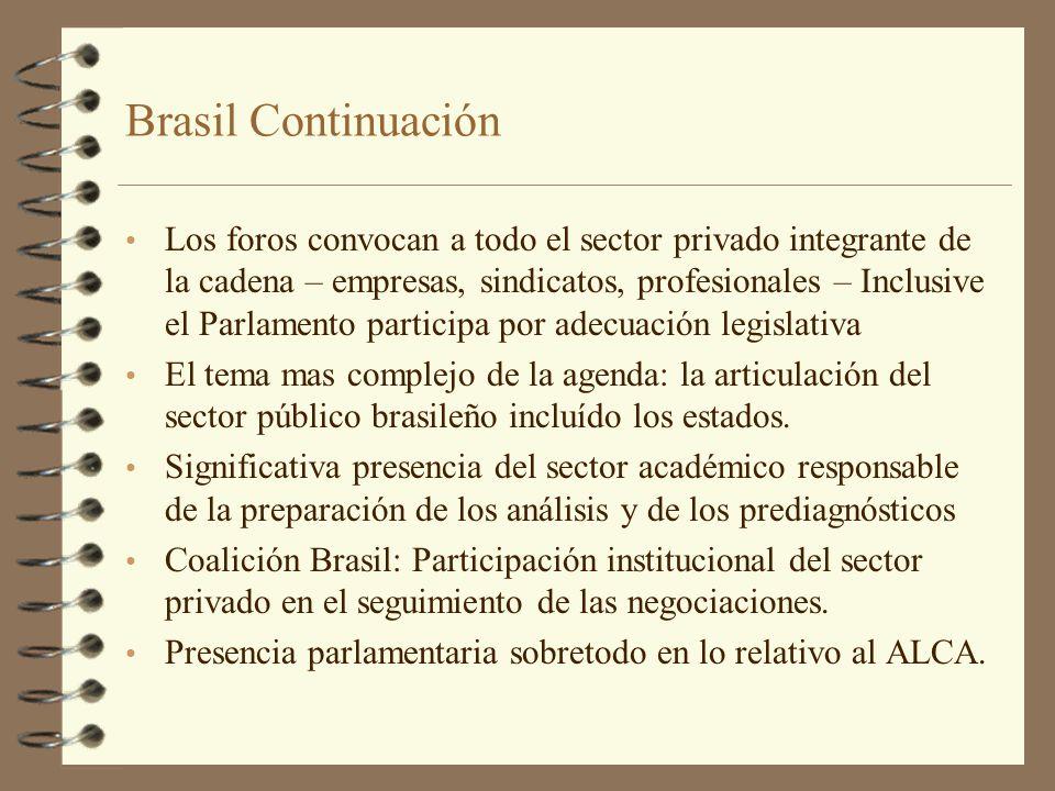Brasil Continuación Los foros convocan a todo el sector privado integrante de la cadena – empresas, sindicatos, profesionales – Inclusive el Parlament