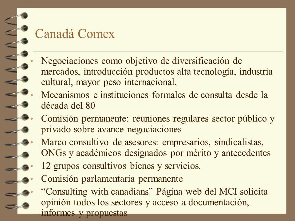 Canadá Comex Negociaciones como objetivo de diversificación de mercados, introducción productos alta tecnología, industria cultural, mayor peso intern