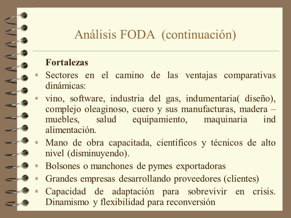 Análisis FODA (continuación) Fortalezas Sectores en el camino de las ventajas comparativas dinámicas: vino, software, industria del gas, indumentaria(