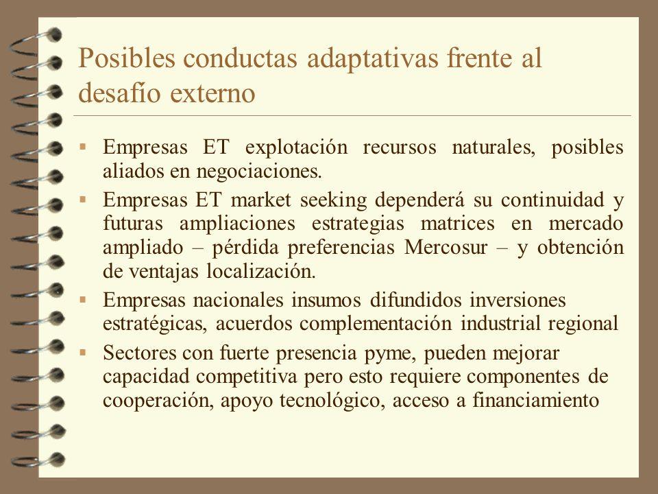 Posibles conductas adaptativas frente al desafío externo Empresas ET explotación recursos naturales, posibles aliados en negociaciones. Empresas ET ma
