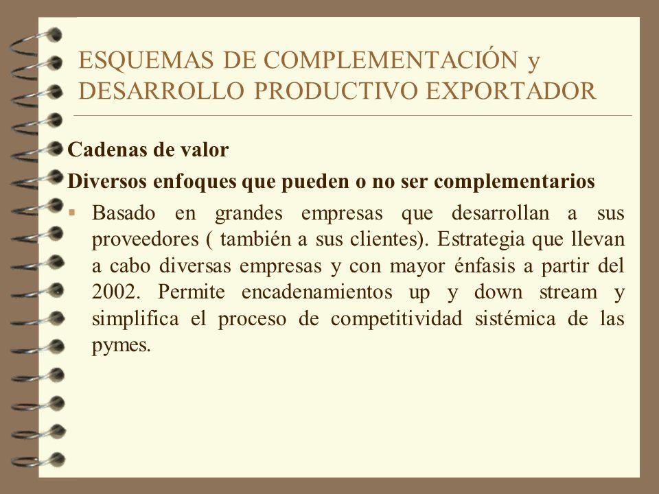 ESQUEMAS DE COMPLEMENTACIÓN y DESARROLLO PRODUCTIVO EXPORTADOR Cadenas de valor Diversos enfoques que pueden o no ser complementarios Basado en grande