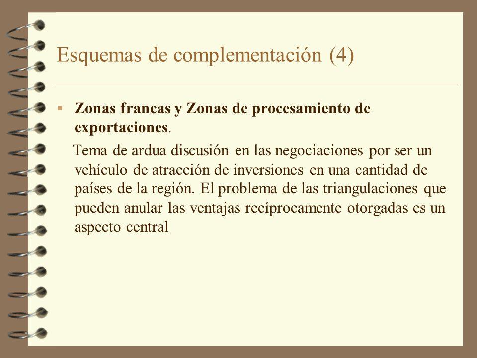Esquemas de complementación (4) Zonas francas y Zonas de procesamiento de exportaciones. Tema de ardua discusión en las negociaciones por ser un vehíc