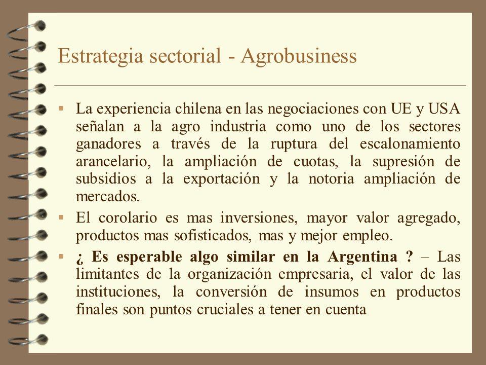 Estrategia sectorial - Agrobusiness La experiencia chilena en las negociaciones con UE y USA señalan a la agro industria como uno de los sectores gana