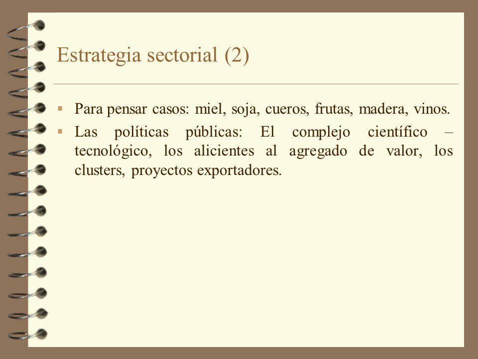 Estrategia sectorial (2) Para pensar casos: miel, soja, cueros, frutas, madera, vinos. Las políticas públicas: El complejo científico – tecnológico, l