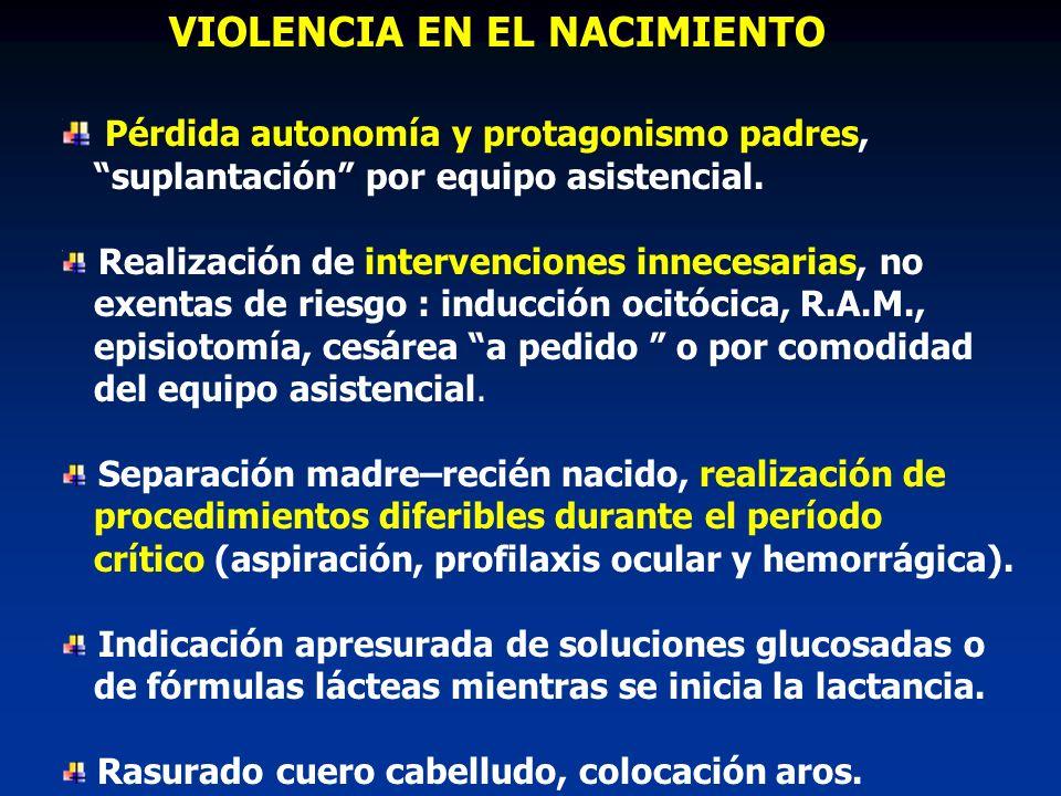 VIOLENCIA EN EL NACIMIENTO Pérdida autonomía y protagonismo padres, suplantación por equipo asistencial.
