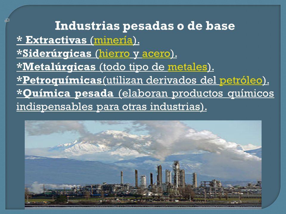 Industrias pesadas o de base * Extractivas (minería).