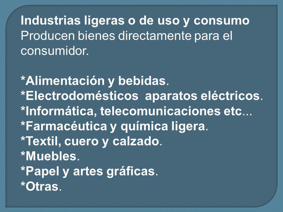 Industrias ligeras o de uso y consumo Producen bienes directamente para el consumidor.