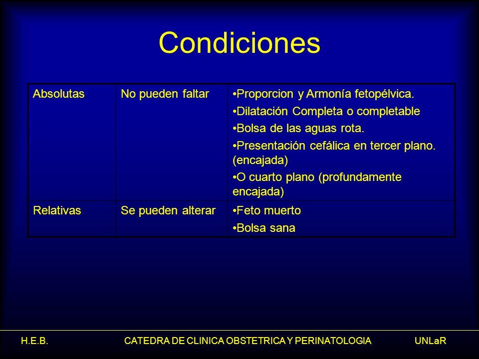 H.E.B. CATEDRA DE CLINICA OBSTETRICA Y PERINATOLOGIA UNLaR Condiciones AbsolutasNo pueden faltarProporcion y Armonía fetopélvica. Dilatación Completa