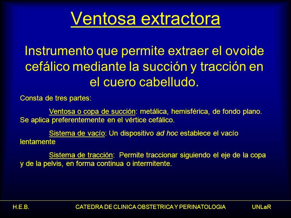 H.E.B. CATEDRA DE CLINICA OBSTETRICA Y PERINATOLOGIA UNLaR Ventosa extractora Instrumento que permite extraer el ovoide cefálico mediante la succión y