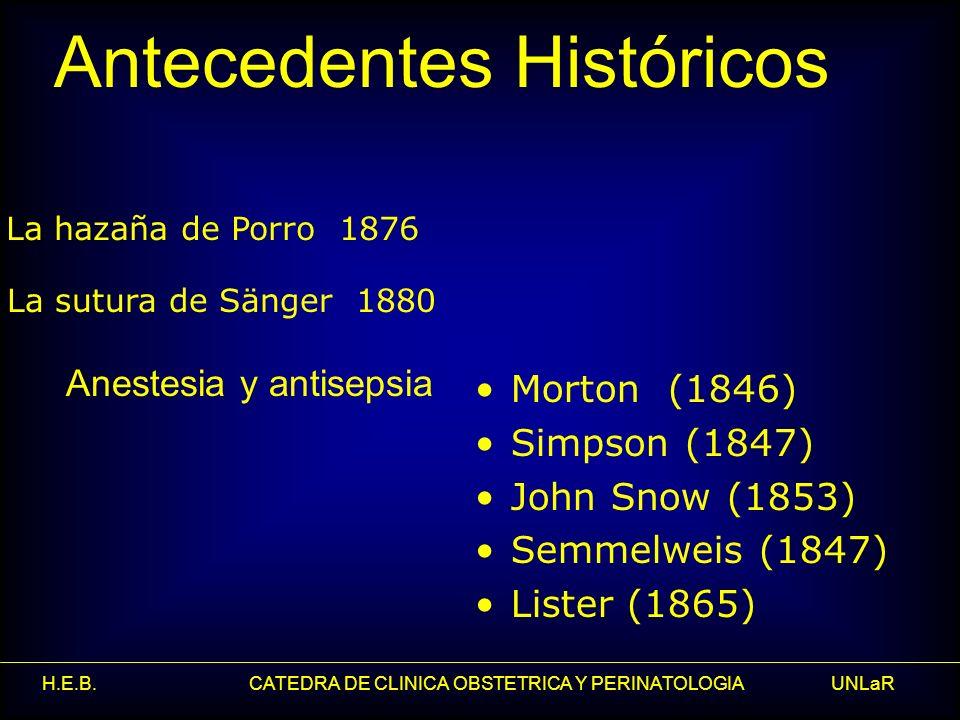 H.E.B. CATEDRA DE CLINICA OBSTETRICA Y PERINATOLOGIA UNLaR Morton (1846) Simpson (1847) John Snow (1853) Semmelweis (1847) Lister (1865) Anestesia y a