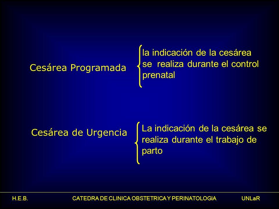 H.E.B. CATEDRA DE CLINICA OBSTETRICA Y PERINATOLOGIA UNLaR Cesárea Programada Cesárea de Urgencia La indicación de la cesárea se realiza durante el tr