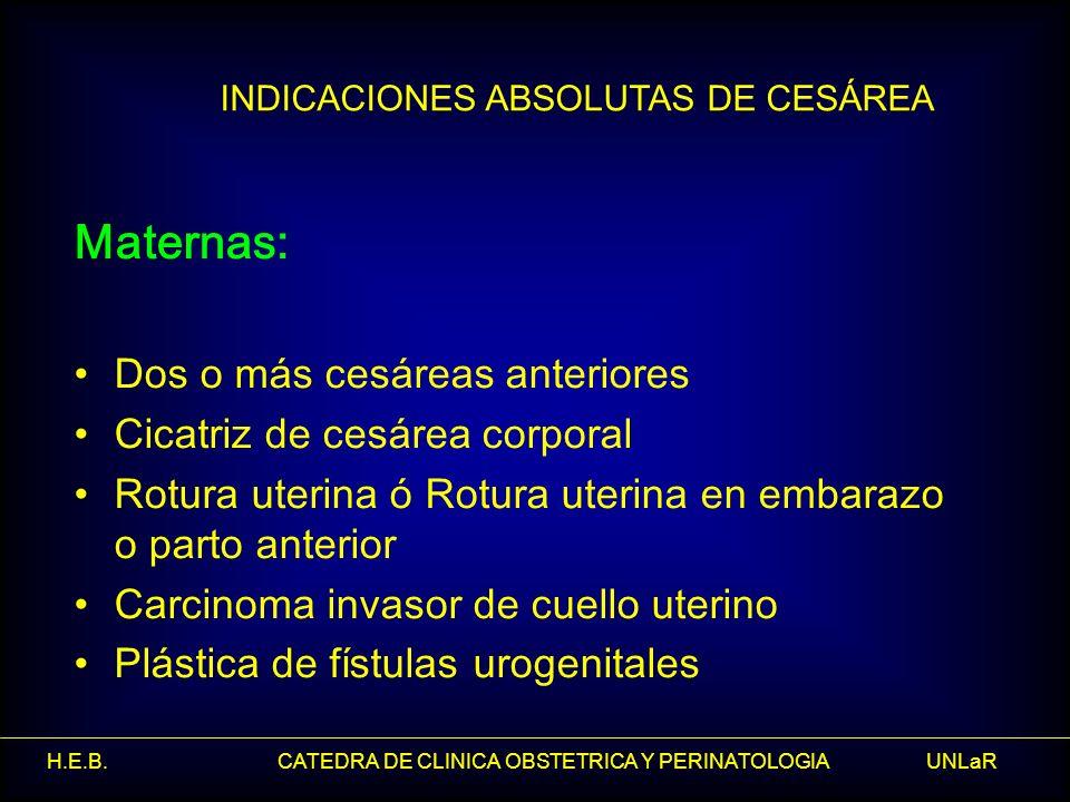 H.E.B. CATEDRA DE CLINICA OBSTETRICA Y PERINATOLOGIA UNLaR INDICACIONES ABSOLUTAS DE CESÁREA Maternas: Dos o más cesáreas anteriores Cicatriz de cesár