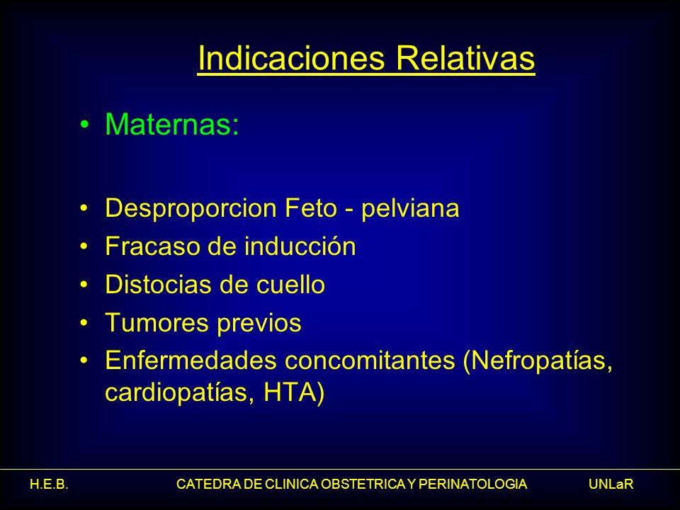 H.E.B. CATEDRA DE CLINICA OBSTETRICA Y PERINATOLOGIA UNLaR Indicaciones Relativas Maternas: Desproporcion Feto - pelviana Fracaso de inducción Distoci