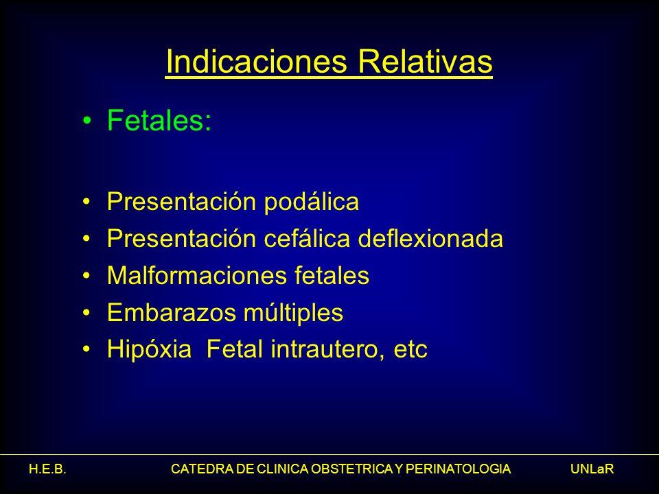 H.E.B. CATEDRA DE CLINICA OBSTETRICA Y PERINATOLOGIA UNLaR Indicaciones Relativas Fetales: Presentación podálica Presentación cefálica deflexionada Ma