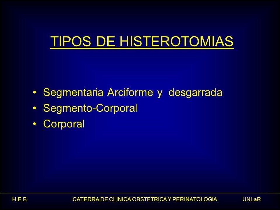 H.E.B. CATEDRA DE CLINICA OBSTETRICA Y PERINATOLOGIA UNLaR TIPOS DE HISTEROTOMIAS Segmentaria Arciforme y desgarrada Segmento-Corporal Corporal