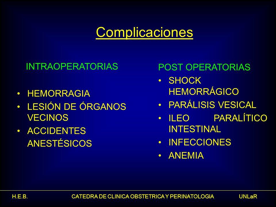 H.E.B. CATEDRA DE CLINICA OBSTETRICA Y PERINATOLOGIA UNLaR Complicaciones INTRAOPERATORIAS HEMORRAGIA LESIÓN DE ÓRGANOS VECINOS ACCIDENTES ANESTÉSICOS