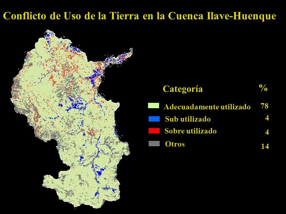 Conflicto de Uso de la Tierra en la Cuenca Ilave-Huenque Adecuadamente utilizado Categoría % Sub utilizado Sobre utilizado Otros 78 4 4 14