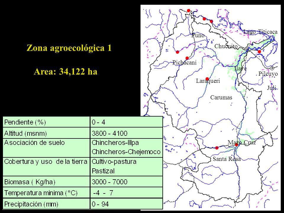 Lago Titicaca Ilave Pilcuyo Puno Chucuito Carumas Laraqueri Pichacani Mazo Cruz Santa Rosa Juli Zona agroecológica 1 Area: 34,122 ha