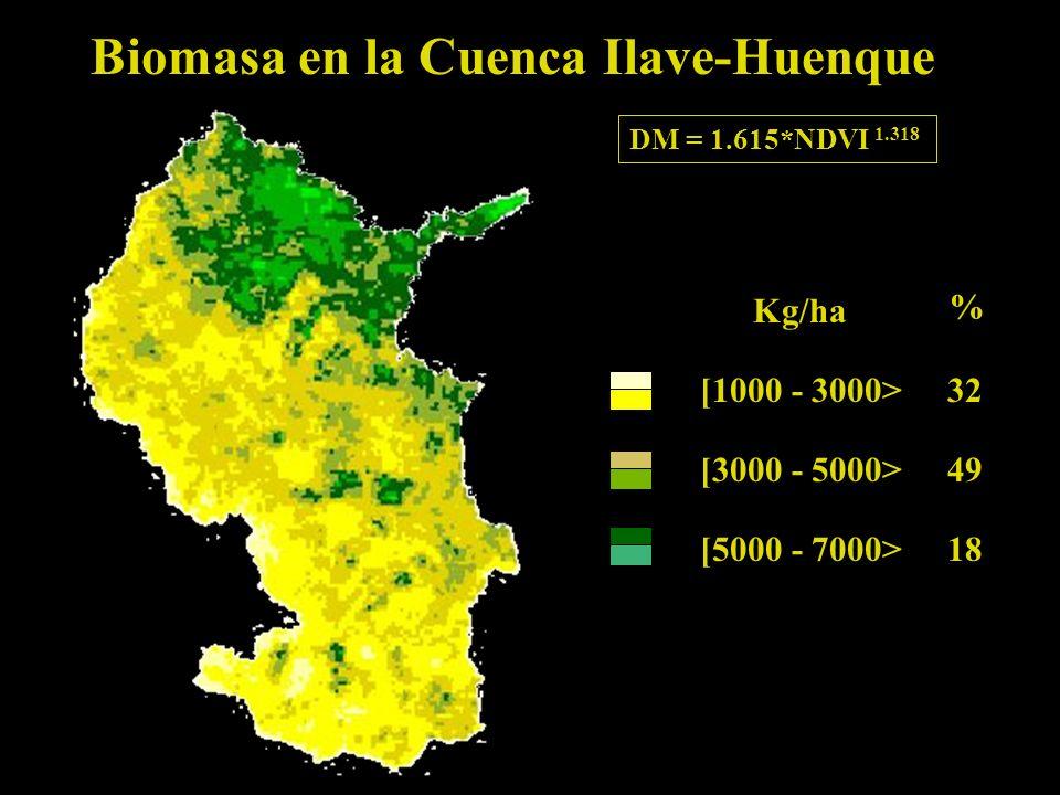 Biomasa en la Cuenca Ilave-Huenque [1000 - 3000> 32 [3000 - 5000> 49 [5000 - 7000>18 Kg/ha % DM = 1.615*NDVI 1.318