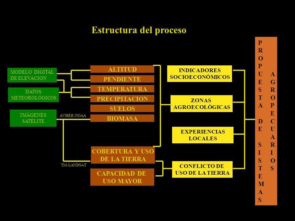 Estructura del proceso AGROPECUARIOSAGROPECUARIOS CONFLICTO DE USO DE LA TIERRA INDICADORES SOCIOECONÓMICOS EXPERIENCIAS LOCALES ZONAS AGROECOLÓGICAS IMÁGENES SATÉLITE DATOS METEOROLÓGICOS AVHRR-NOAA TM-LANDSAT ALTITUD PENDIENTE TEMPERATURA PRECIPITACION BIOMASA SUELOS COBERTURA Y USO DE LA TIERRA CAPACIDAD DE USO MAYOR PROPUESTA DE SISTEMASPROPUESTA DE SISTEMAS MODELO DIGITAL DE ELEVACION