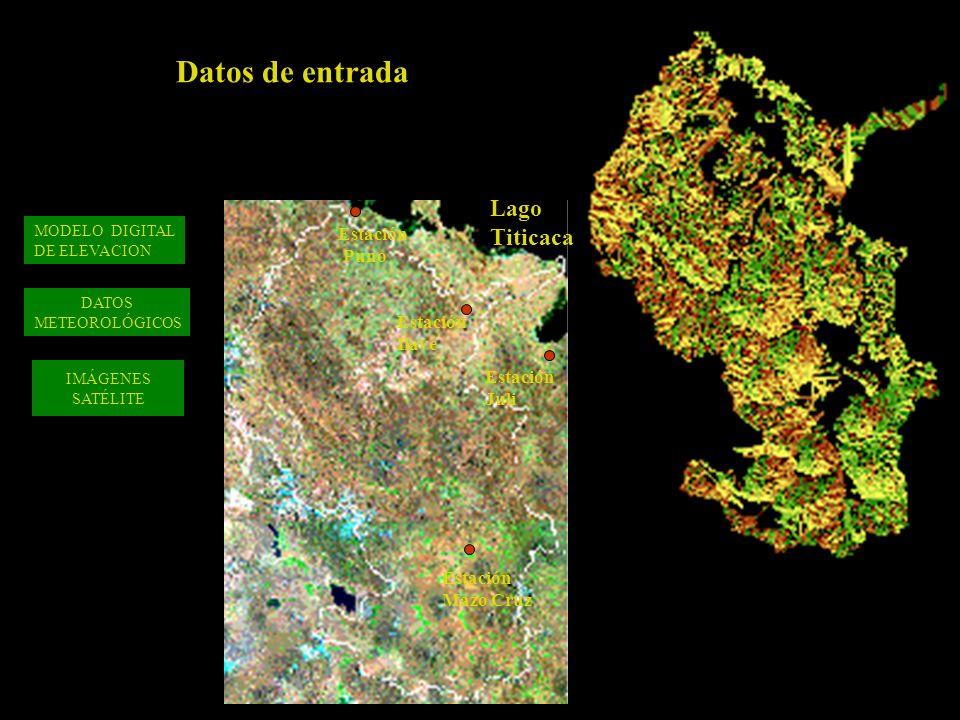IMÁGENES SATÉLITE DATOS METEOROLÓGICOS MODELO DIGITAL DE ELEVACION Estación Puno Estación Ilave Estación Mazo Cruz Lago Titicaca Estación Juli Datos de entrada