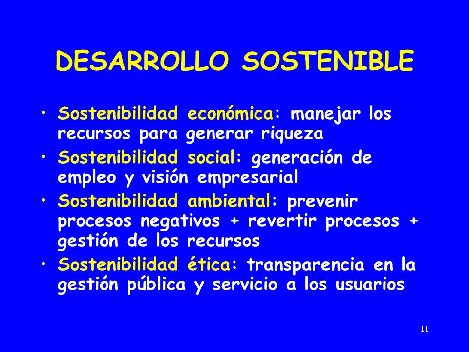 11 DESARROLLO SOSTENIBLE Sostenibilidad económica: manejar los recursos para generar riqueza Sostenibilidad social: generación de empleo y visión empr