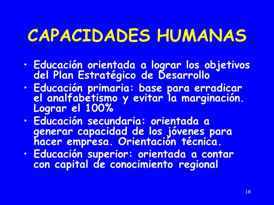 16 CAPACIDADES HUMANAS Educación orientada a lograr los objetivos del Plan Estratégico de Desarrollo Educación primaria: base para erradicar el analfabetismo y evitar la marginación.