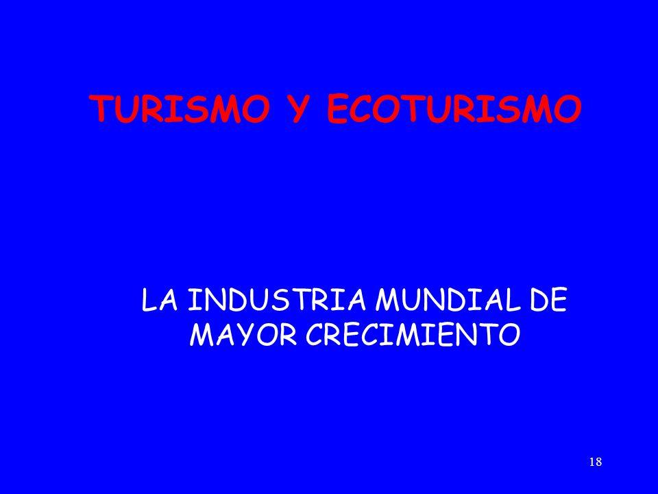 18 TURISMO Y ECOTURISMO LA INDUSTRIA MUNDIAL DE MAYOR CRECIMIENTO