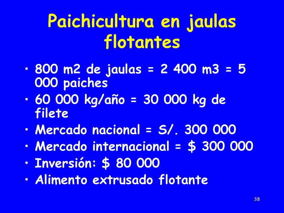 38 Paichicultura en jaulas flotantes 800 m2 de jaulas = 2 400 m3 = 5 000 paiches 60 000 kg/año = 30 000 kg de filete Mercado nacional = S/.