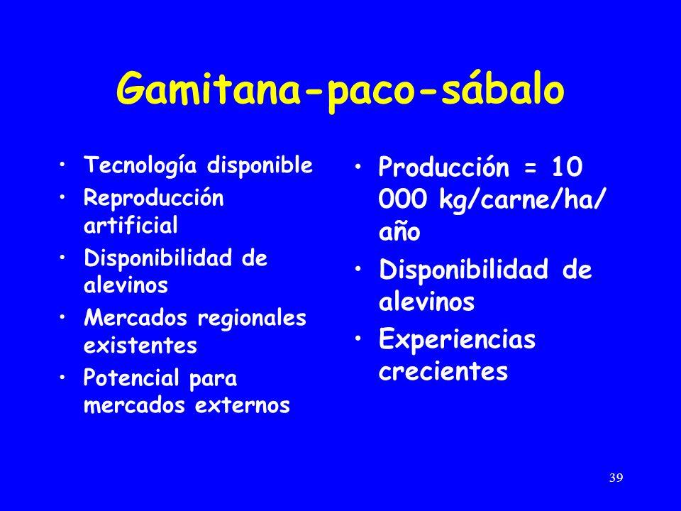 39 Gamitana-paco-sábalo Tecnología disponible Reproducción artificial Disponibilidad de alevinos Mercados regionales existentes Potencial para mercados externos Producción = 10 000 kg/carne/ha/ año Disponibilidad de alevinos Experiencias crecientes