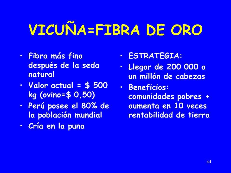 44 VICUÑA=FIBRA DE ORO Fibra más fina después de la seda natural Valor actual = $ 500 kg (ovino=$ 0,50) Perú posee el 80% de la población mundial Cría en la puna ESTRATEGIA: Llegar de 200 000 a un millón de cabezas Beneficios: comunidades pobres + aumenta en 10 veces rentabilidad de tierra