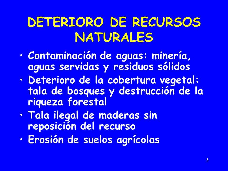 5 DETERIORO DE RECURSOS NATURALES Contaminación de aguas: minería, aguas servidas y residuos sólidos Deterioro de la cobertura vegetal: tala de bosque