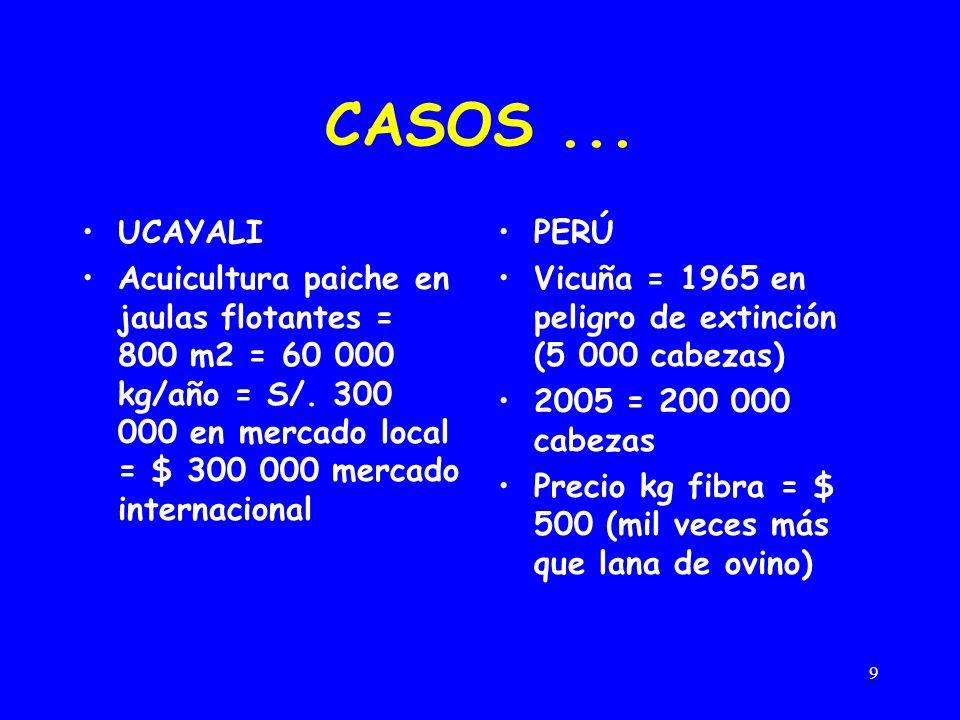 9 CASOS... UCAYALI Acuicultura paiche en jaulas flotantes = 800 m2 = 60 000 kg/año = S/. 300 000 en mercado local = $ 300 000 mercado internacional PE