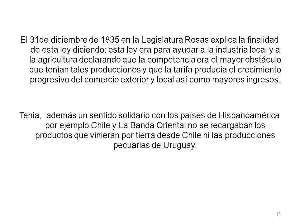 El 31de diciembre de 1835 en la Legislatura Rosas explica la finalidad de esta ley diciendo: esta ley era para ayudar a la industria local y a la agri