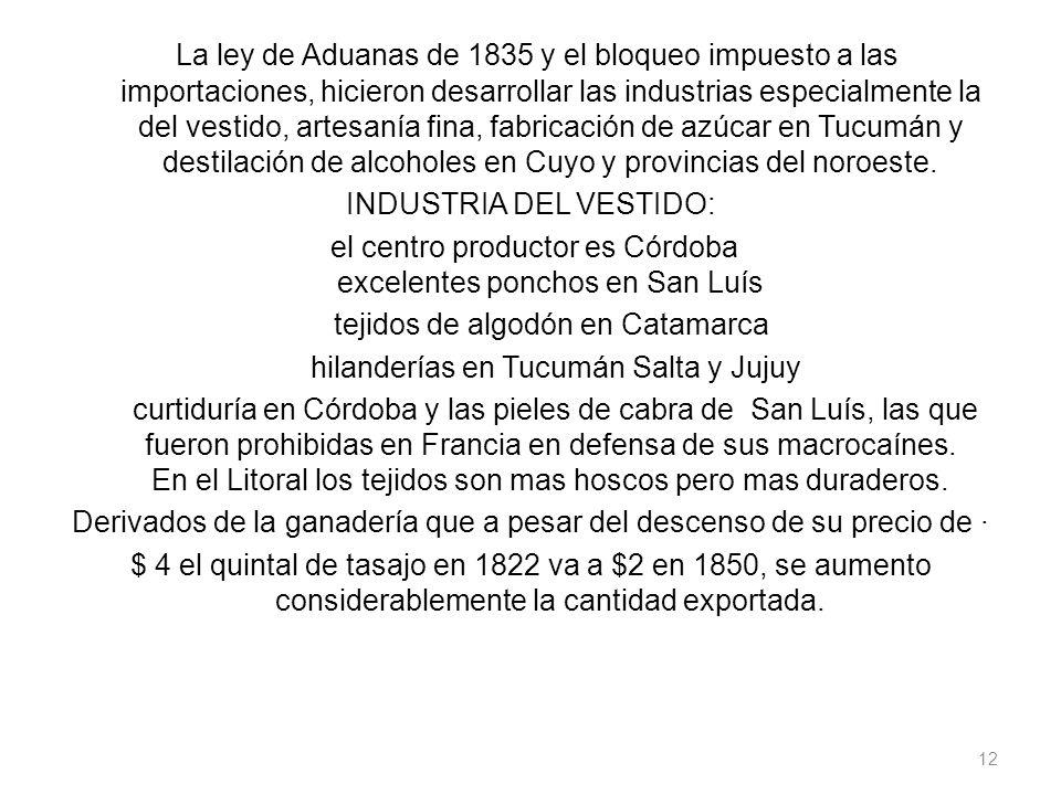 La ley de Aduanas de 1835 y el bloqueo impuesto a las importaciones, hicieron desarrollar las industrias especialmente la del vestido, artesanía fina,