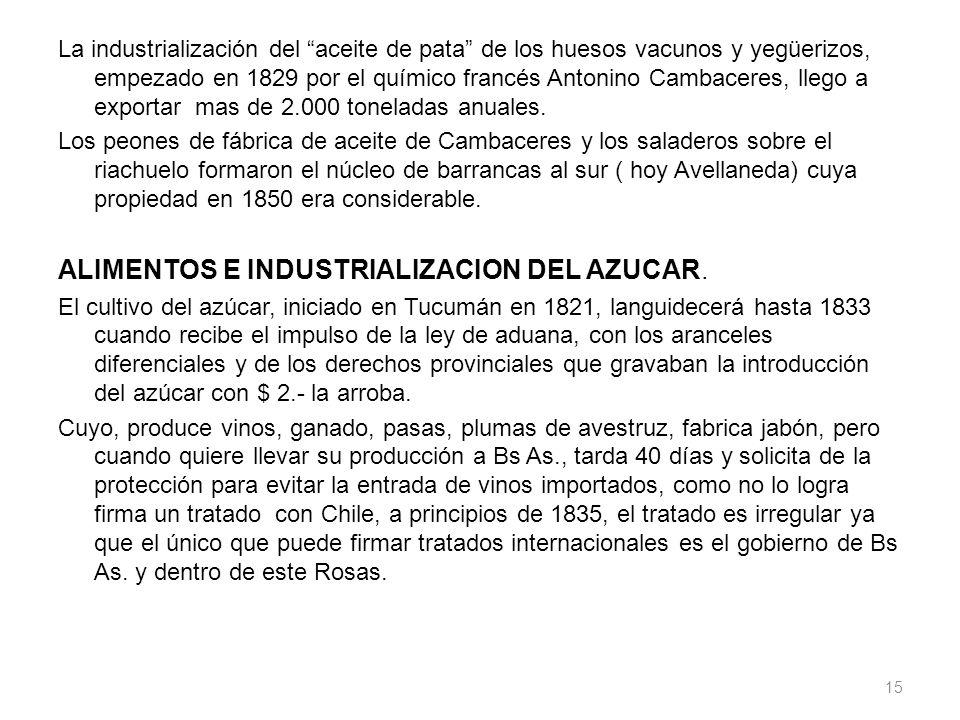 La industrialización del aceite de pata de los huesos vacunos y yegüerizos, empezado en 1829 por el químico francés Antonino Cambaceres, llego a expor