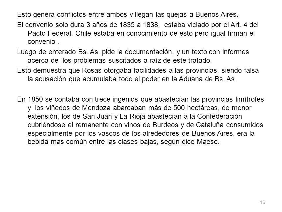 Esto genera conflictos entre ambos y llegan las quejas a Buenos Aires. El convenio solo dura 3 años de 1835 a 1838, estaba viciado por el Art. 4 del P