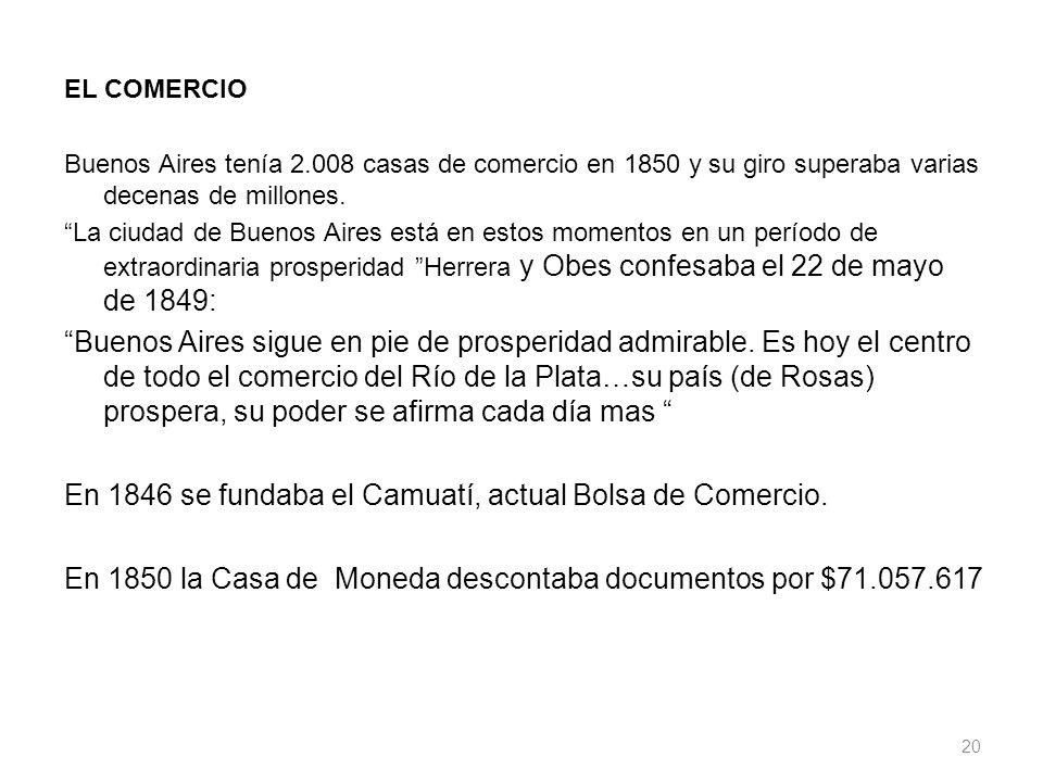 EL COMERCIO Buenos Aires tenía 2.008 casas de comercio en 1850 y su giro superaba varias decenas de millones. La ciudad de Buenos Aires está en estos