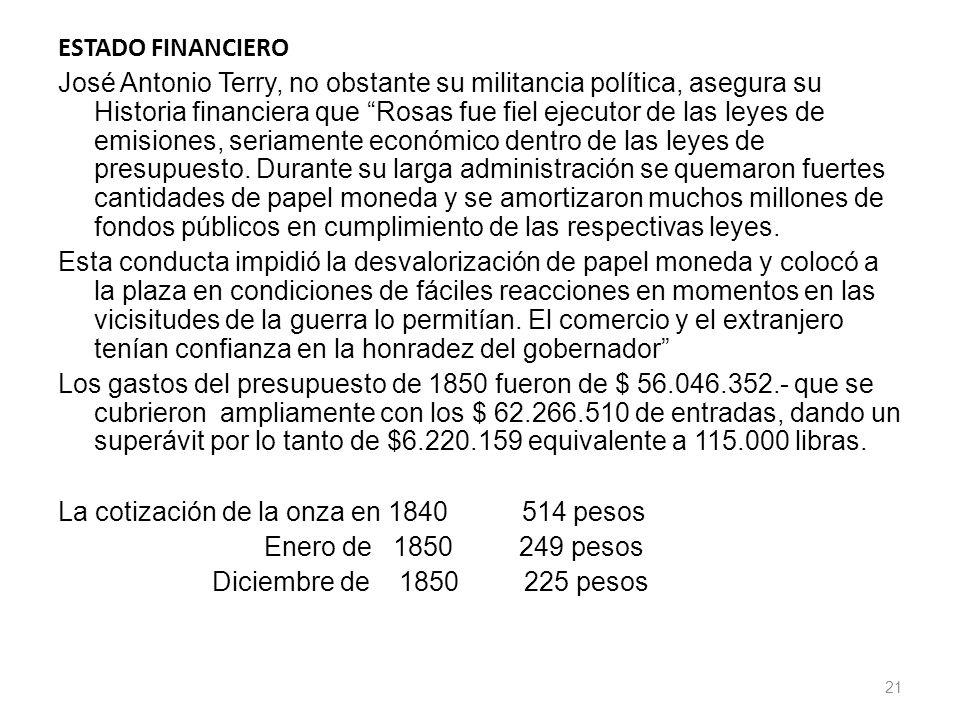 ESTADO FINANCIERO José Antonio Terry, no obstante su militancia política, asegura su Historia financiera que Rosas fue fiel ejecutor de las leyes de e