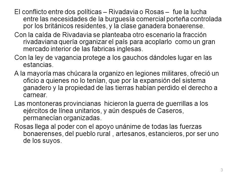 El conflicto entre dos políticas – Rivadavia o Rosas – fue la lucha entre las necesidades de la burguesía comercial porteña controlada por los británi