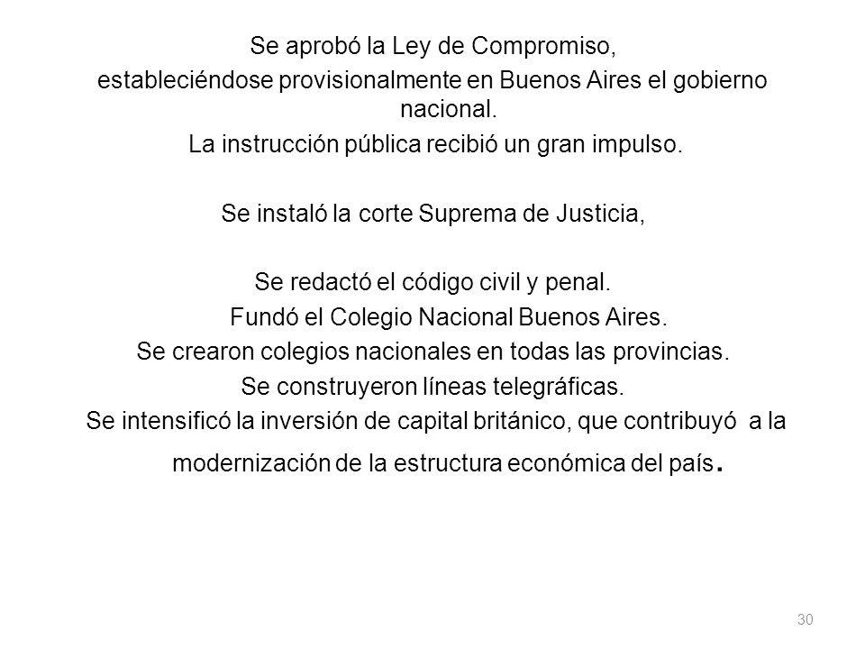 Se aprobó la Ley de Compromiso, estableciéndose provisionalmente en Buenos Aires el gobierno nacional. La instrucción pública recibió un gran impulso.