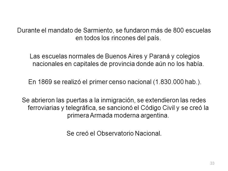 Durante el mandato de Sarmiento, se fundaron más de 800 escuelas en todos los rincones del país. Las escuelas normales de Buenos Aires y Paraná y cole