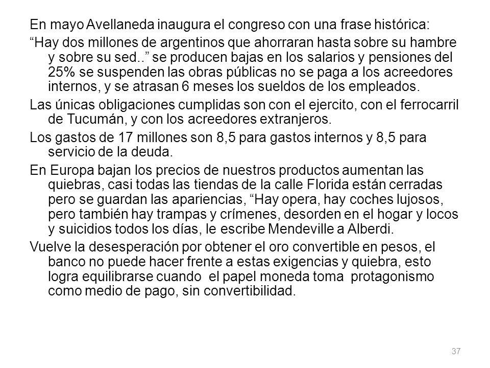 En mayo Avellaneda inaugura el congreso con una frase histórica: Hay dos millones de argentinos que ahorraran hasta sobre su hambre y sobre su sed.. s