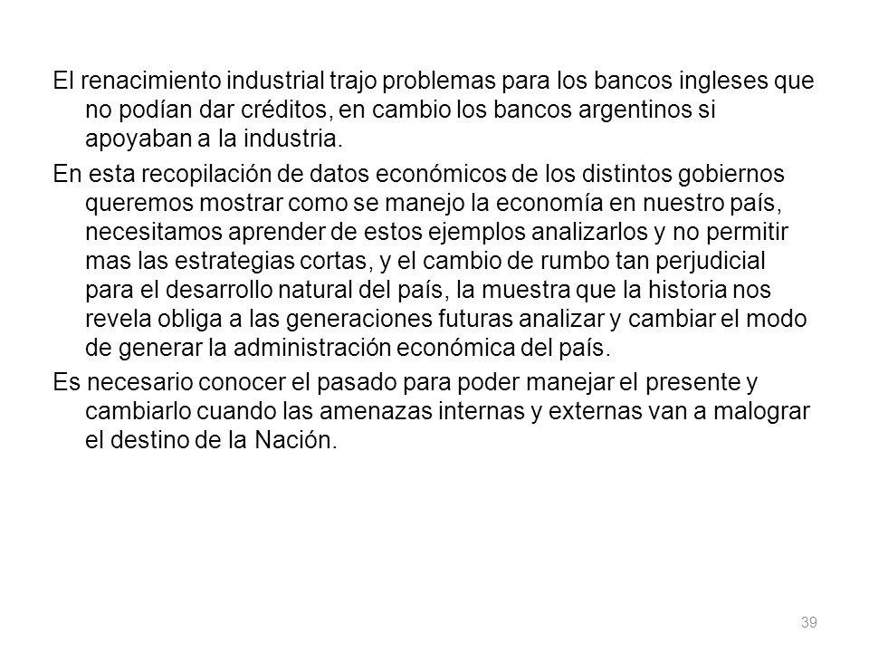 El renacimiento industrial trajo problemas para los bancos ingleses que no podían dar créditos, en cambio los bancos argentinos si apoyaban a la indus