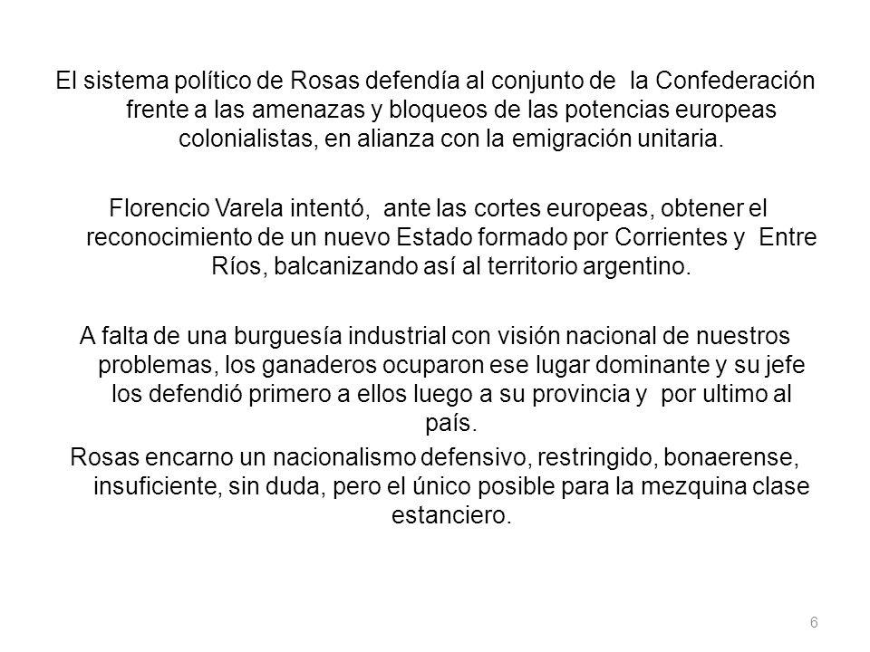 El sistema político de Rosas defendía al conjunto de la Confederación frente a las amenazas y bloqueos de las potencias europeas colonialistas, en ali