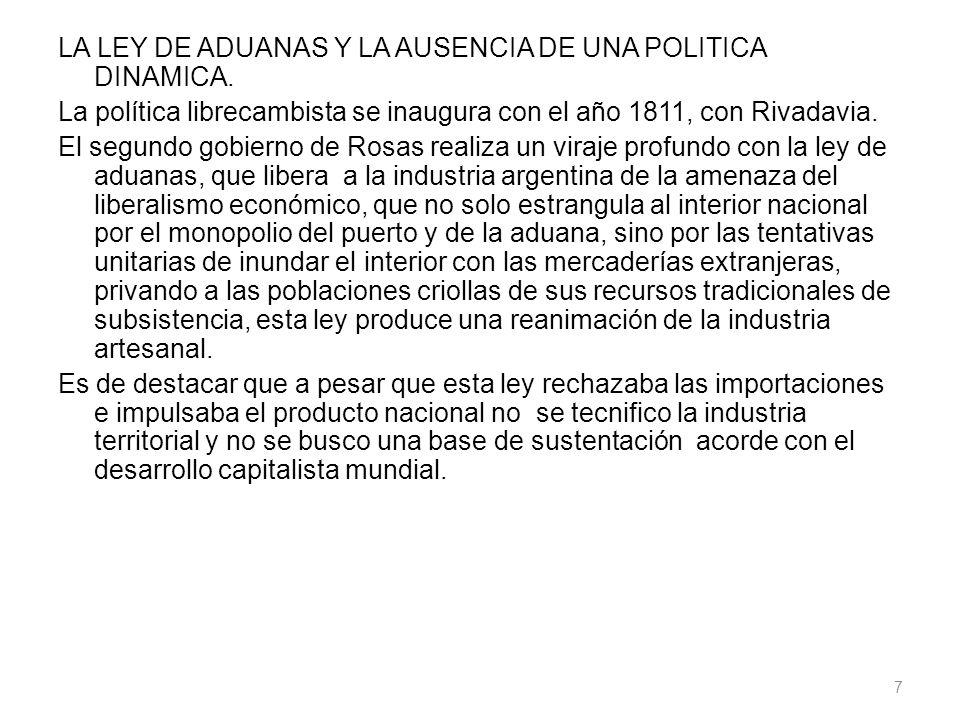 LA LEY DE ADUANAS Y LA AUSENCIA DE UNA POLITICA DINAMICA. La política librecambista se inaugura con el año 1811, con Rivadavia. El segundo gobierno de