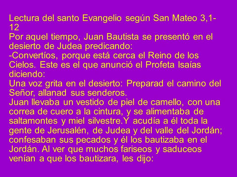 Lectura del santo Evangelio según San Mateo 3,1- 12 Por aquel tiempo, Juan Bautista se presentó en el desierto de Judea predicando: -Convertíos, porqu